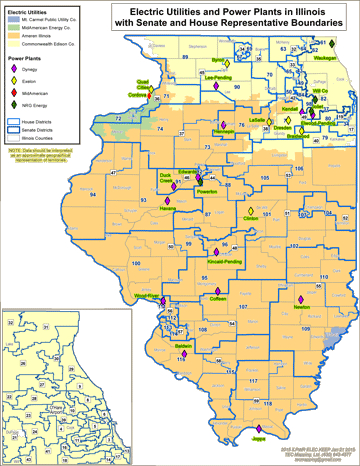 Electric Utilities and Power Plants in Illinois with Senate and House Representative Boundaries