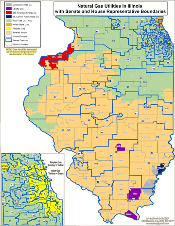 Natural Gas Utilities in Illinois with Senate and House Representative Boundaries